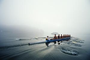 Rowing Team on Lake in Early Morning Fog by Nick Wilson