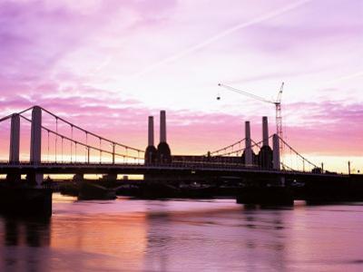 Dawn Over Battersea Power Station and Chelsea Bridge, London, England, United Kingdom