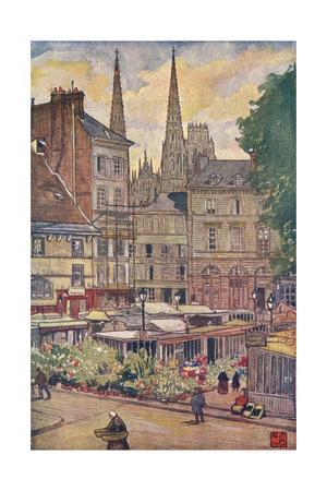 Rouen, Flower Market 1907