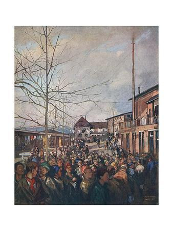 Ruhleben Prisoners Lining Up for Bacon Ration at Christmas