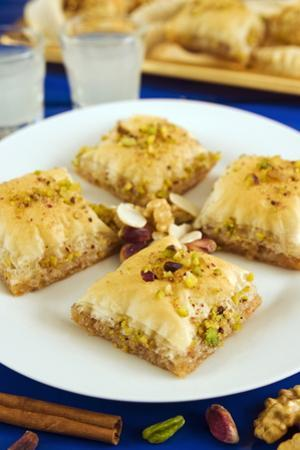 Baklava, Filo Pastry with Honey and Pistachios, Greece, Europe by Nico Tondini