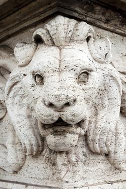 Marble lion at Ponte Vittorio Emanuele 2nd Rome, Latium, Italy, Europe by Nico Tondini