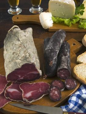 Motsetta (Mocetta), Chamois/Beef Meat Salted, Seasoned,Dried, Boudin Sausages, Goat Cheese, Italy by Nico Tondini