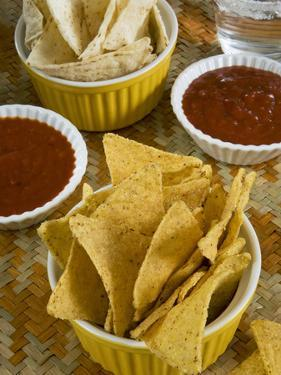 Nachos (Totopos) (Tortilla Chips) with Chili Sauce, Mexican Food, Mexico, North America by Nico Tondini