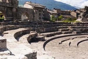 Roman Theater (Teatro Romano), Aosta, Aosta Valley, Italian Alps, Italy, Europe by Nico Tondini