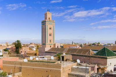 Rooftop View and Minaret of Ben Youssef Madrasa, Marrakech, Morocco by Nico Tondini