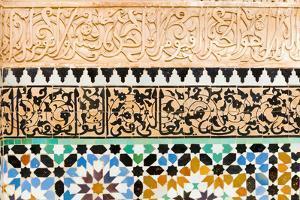 Tile and Stucco Decoration, Ben Youssef Madrasa, Marrakech, Morocco by Nico Tondini