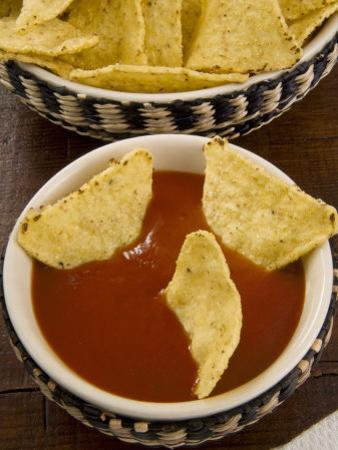 Tortilla Chips with Chili Sauce, Mexican Food, Mexico, North America by Nico Tondini