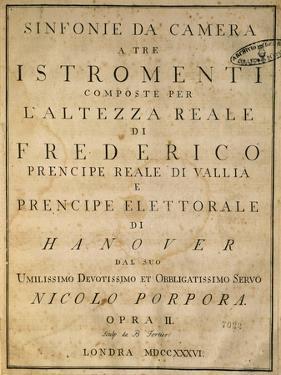 Frontispiece of Chamber Symphonies, 1736 by Nicola Antonio Porpora