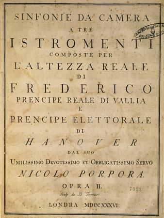 Frontispiece of Chamber Symphonies, 1736