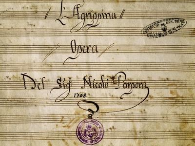 Frontispiece of the Autograph Music Score of Agrippina, 1708