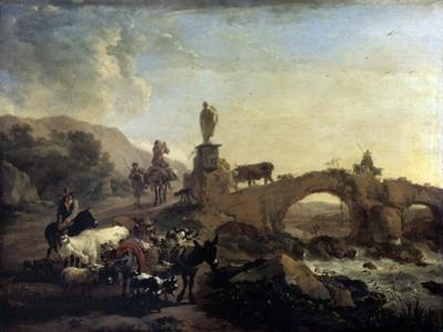 Italian Landscape with a Small Bridge, 1656 by Nicolaes Berchem