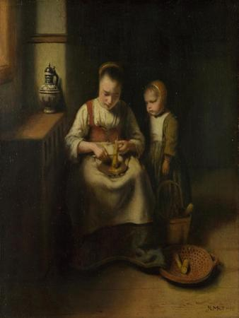 A Woman Scraping Parsnips, with a Child Standing by Her, 1655 by Nicolaes Maes