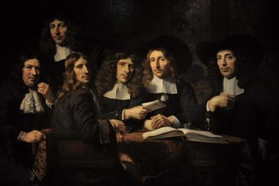Nicolaes Maes (1634-1693). Dutch Golden Age Painter. Six Deans of the Amsterdam Guild of Surgeons by Nicolaes Maes