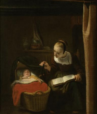 Young Woman at a Cradle, 1652 - 1662 by Nicolaes Maes