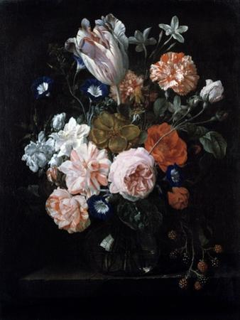 A Tulip, Carnations, and Morning Glory in a Glass Vase, 17th Century