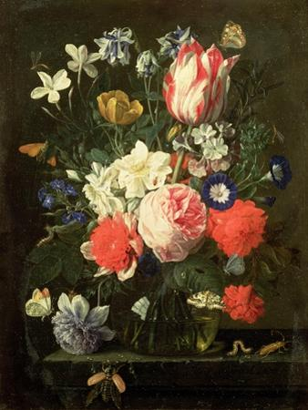 Rose, Tulip, Morning Glory and Other Flowers in a Glass Vase on a Stone Ledge