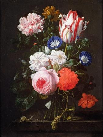 Still Life of Roses, a Carnation, Convolvulus and a Tulip in a Glass Vase