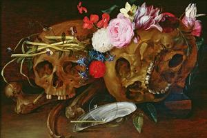 Vanitas Still Life with Skulls, Flowers, a Pearl Mussel Shell, a Bubble and Straw by Nicolaes van Veerendael