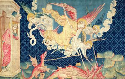 """St. Michael and His Angels Fighting the Dragon, No.36 from """"The Apocalypse of Angers,"""" 1373-87 by Nicolas Bataille"""