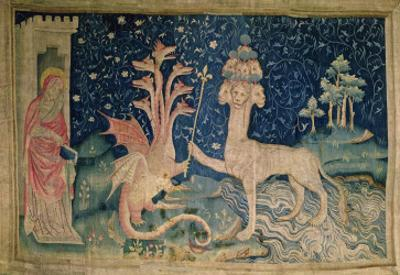 The Beast of the Sea with Seven Heads and Ten Crowns, from 'The Apocalypse of Angers', 1373-87 by Nicolas Bataille