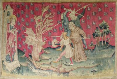 The Dragon Fighting with the Servants of God, No. 39 from the Apocalypse of Angers, 1373-87 by Nicolas Bataille