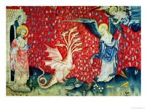 """The Woman Receiving Wings to Flee the Dragon, No.37 from """"The Apocalypse of Angers,"""" 1373-87 by Nicolas Bataille"""