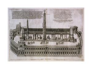 Plan of the Circus Maximus Engraving by Nicolas Beautrizet