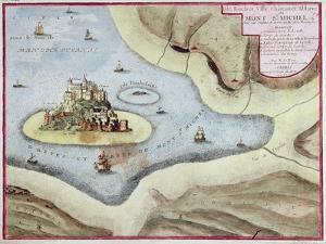The Town, Castle and Abbey of Mont Saint-Michel, 1703 by Nicolas De Fer