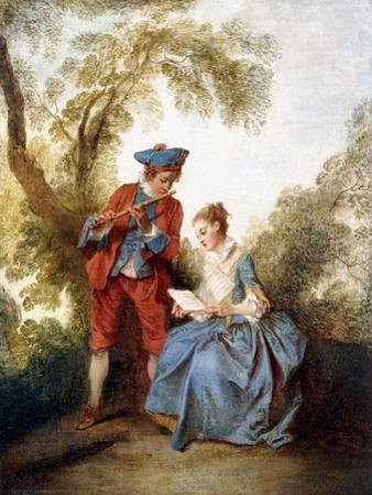 A Couple Making Music in a Landscape by Nicolas Lancret