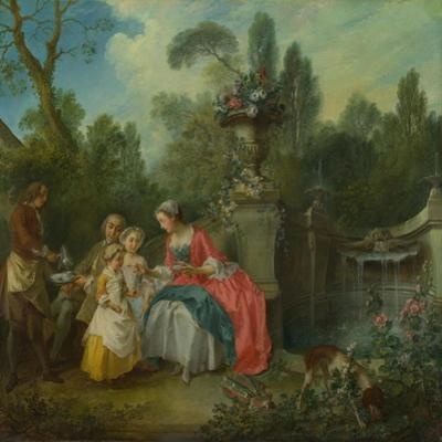 A Lady in a Garden Taking Coffee with Some Children, Ca 1742 by Nicolas Lancret