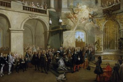 Conferring of the Order of the Holy Spirit in the Chapel of Versailles, June 3, 1724 by Nicolas Lancret