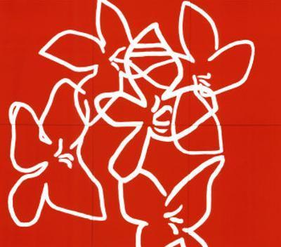 Fleurs Blanches Sur Fond Rouge, c.2003 by Nicolas Le Beuan Bénic