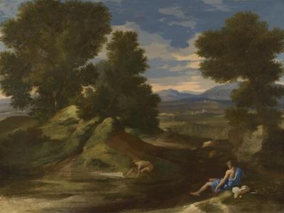 Landscape with a Man Scooping Water from a Stream, Ca 1637 by Nicolas Poussin