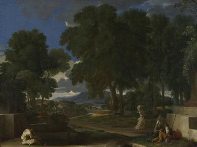 Landscape with a Man Washing His Feet at a Fountain, 1648