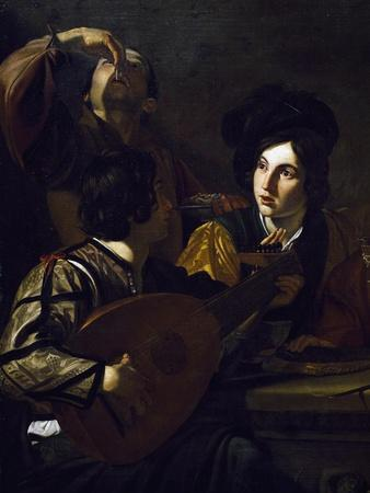 Viola Player, Detail from Drinking Party with Lute Player