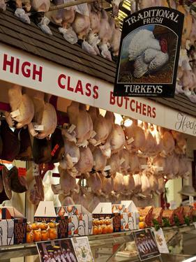 UK, Oxford, A Well-Stocked, 'High Class' Butcher Selling Christmas Turkeys in Oxford's Covered Mark by Niels Van Gijn