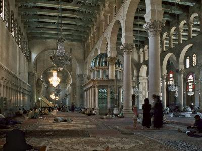Interior of Omayad Mosque in the Old City, Damascus, Syria, Middle East