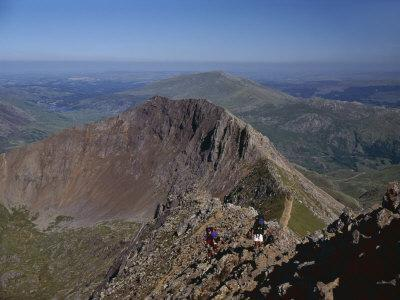 Walkers Approaching the Summit of Mount Snowdon from the Ridge of Y Lliwedd National Park