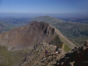 Walkers Approaching the Summit of Mount Snowdon from the Ridge of Y Lliwedd National Park by Nigel Blythe