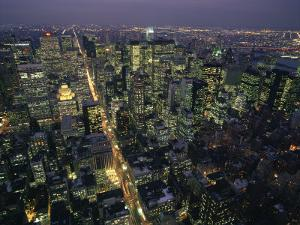 Aerial View at Night of the City Lights Taken from the Empire State Building, New York, USA by Nigel Francis