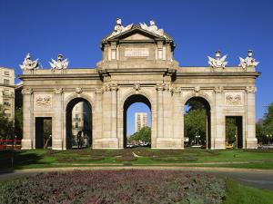 Arched Gateway of the Puerta De Alcala in the Plaza De La Independencia, in Madrid, Spain, Europe by Nigel Francis