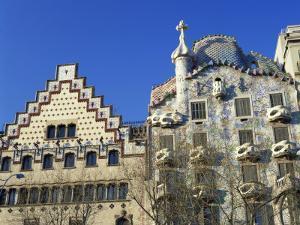 Casa Batllo by Gaudi and Casa Amatller by Cadafalch, in Barcelona, Cataluna, Spain by Nigel Francis