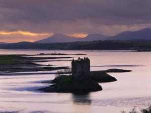 Castle Stalker on Loch Linnhe, Silhouetted at Dusk, Argyll, Scotland, United Kingdom, Europe by Nigel Francis