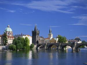 Charles Bridge over the Vltava River and City Skyline of Prague, Czech Republic, Europe by Nigel Francis