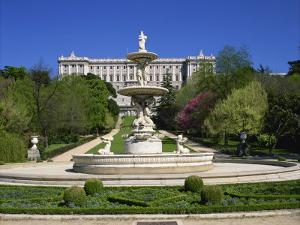 Fountain and Gardens in Front of the Royal Palace, in Madrid, Spain, Europe by Nigel Francis