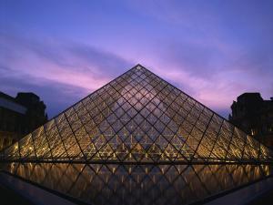 Pyramide Du Louvre Illuminated at Dusk, Musee Du Lourve, Paris, France, Europe by Nigel Francis