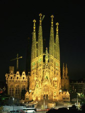 Sagrada Familia, the Gaudi Cathedral, Illuminated at Night in Barcelona, Cataluna, Spain