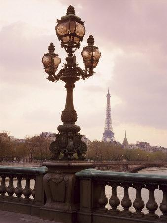 The Eiffel Tower Seen from the Pont Alexandre III at Dusk, Paris, France