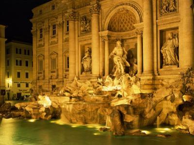 Trevi Fountain Illuminated at Night in Rome, Lazio, Italy, Europe by Nigel Francis